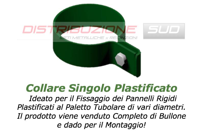 collare singolo plastificato per pannelli recinzione in ferro plastificata