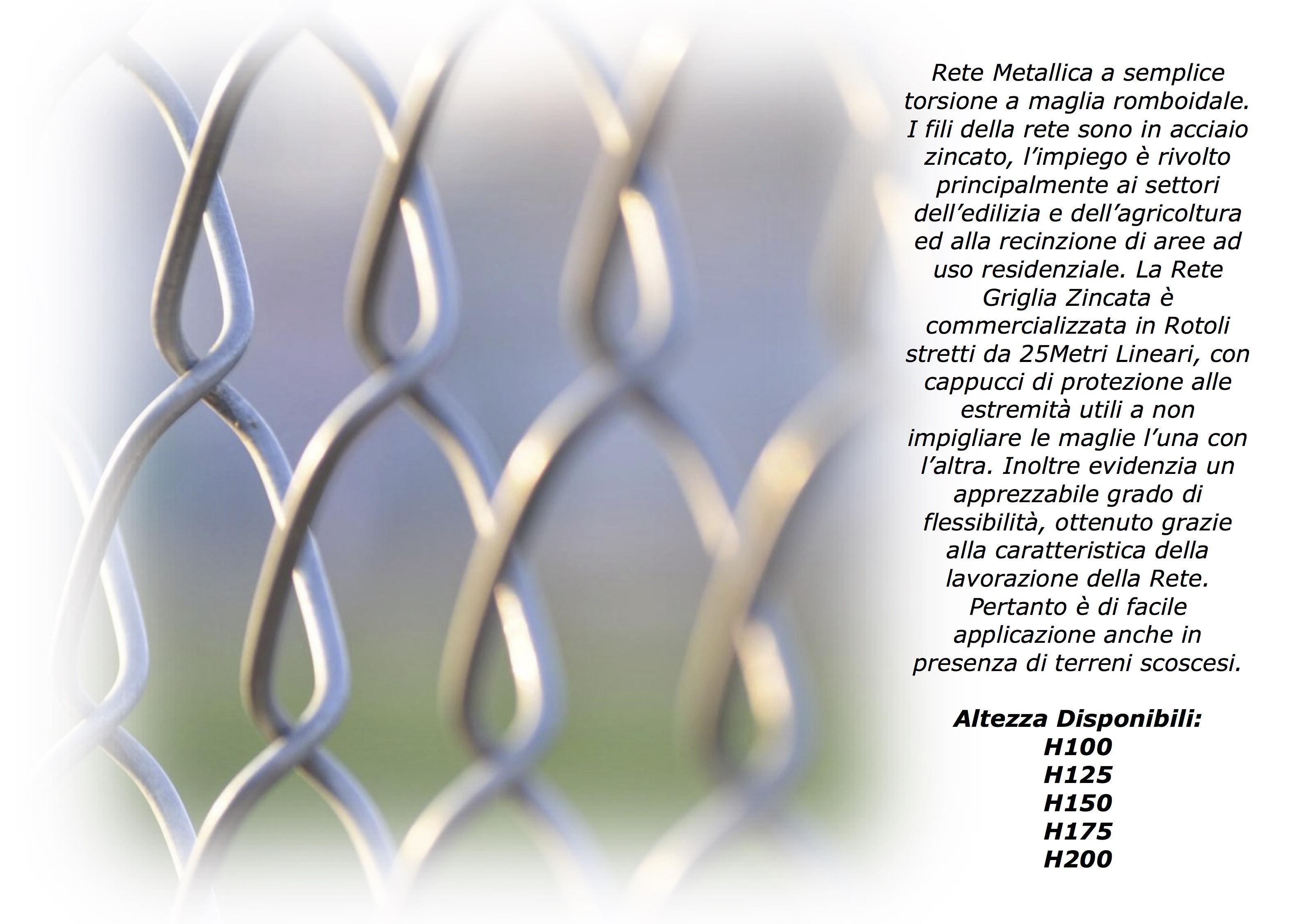 M 25 X 175 cm RETI RECINZIONE METALLICA ZINCATA texas maglia 50x50 mm 300308