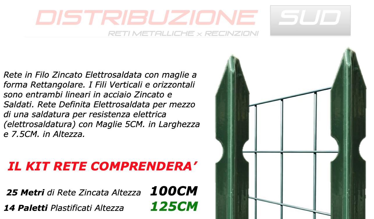 25mt rete zincata h100cm e 14 paletti plastificati h125cm