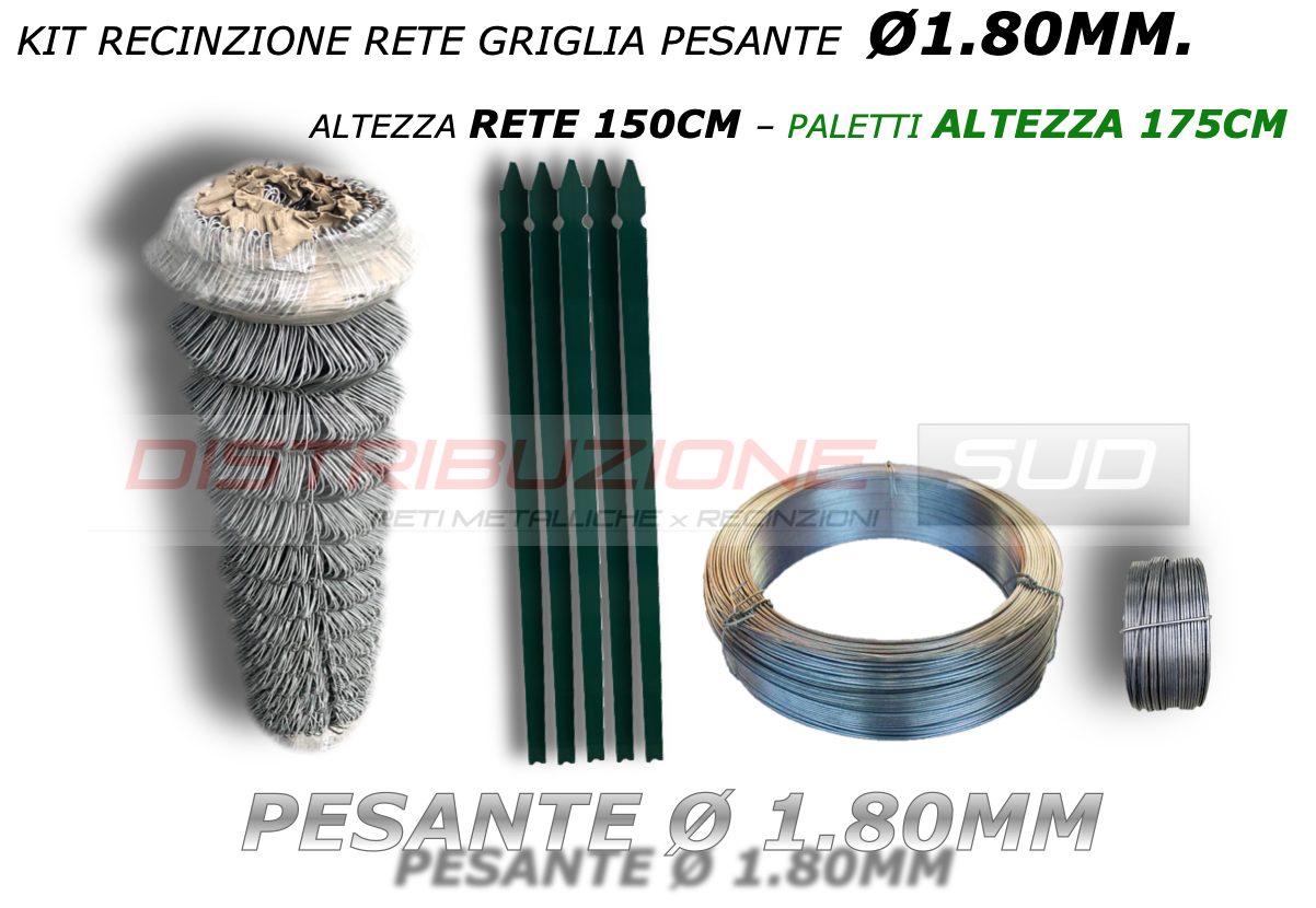 kit griglia zincata h150cm