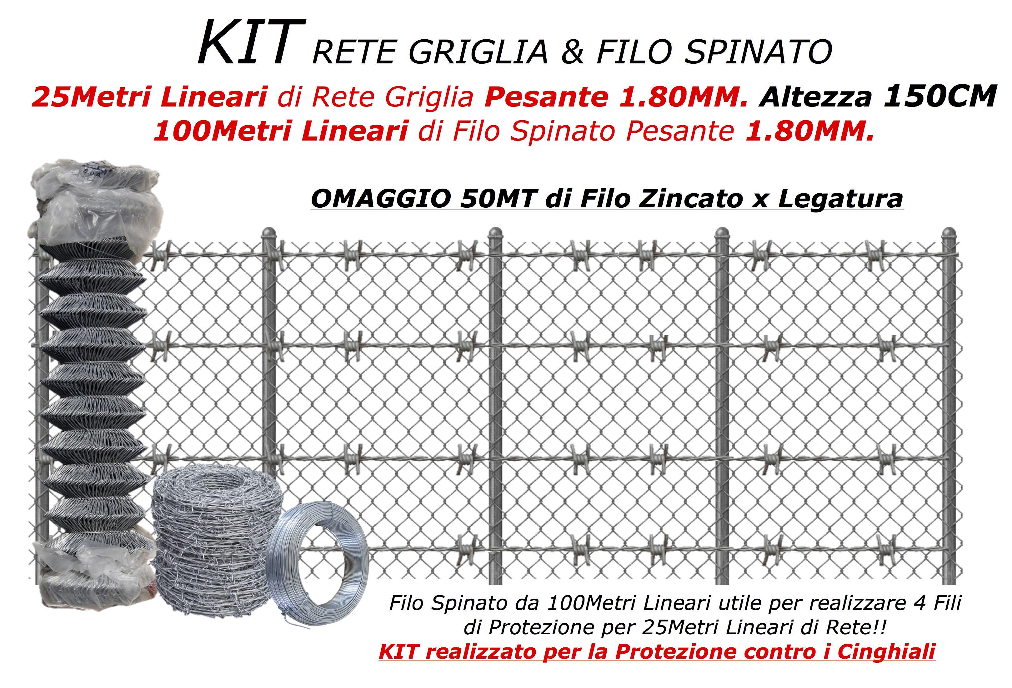 kit rete griglia e filo spinato