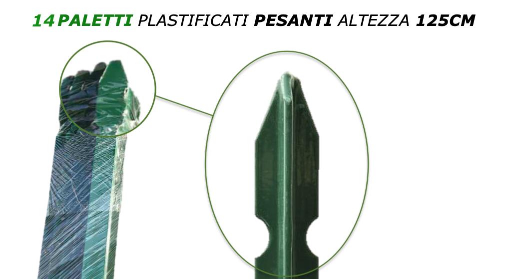 14 paletti in ferro plastificati