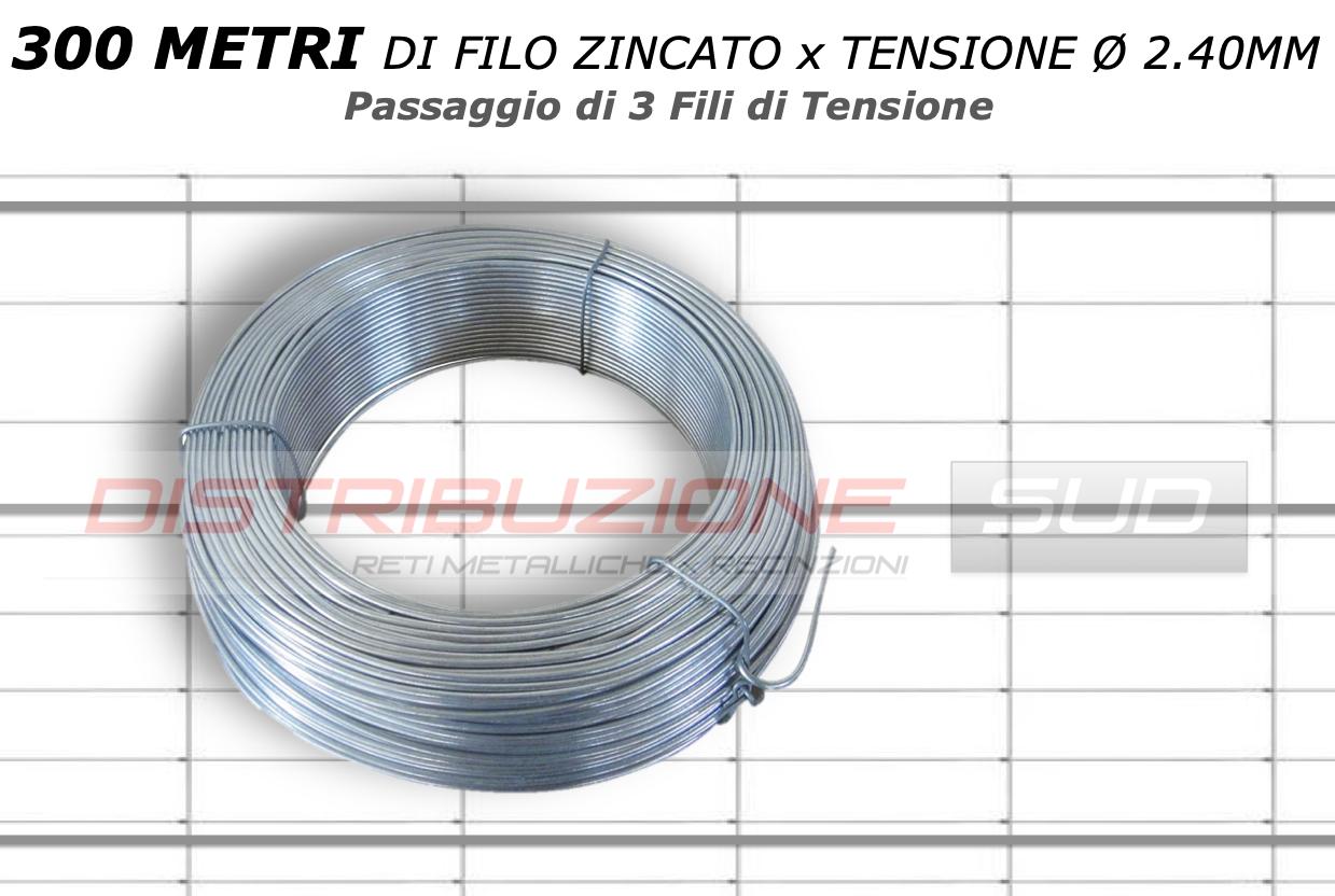 300 metri lineari di filo zincato x tensione spessore 2.40mm