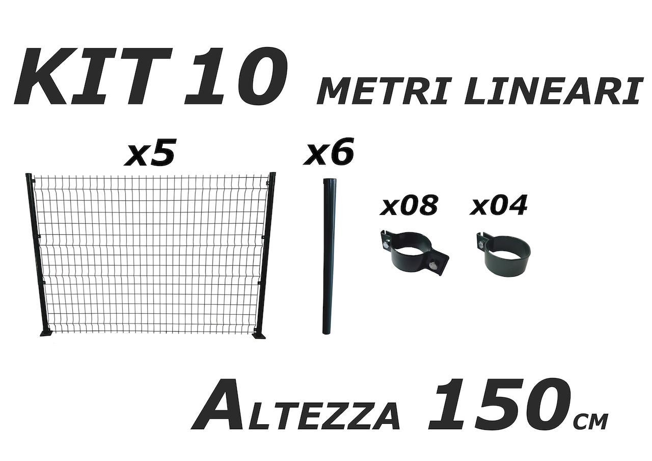 kit 10 metri lineari per recinzione