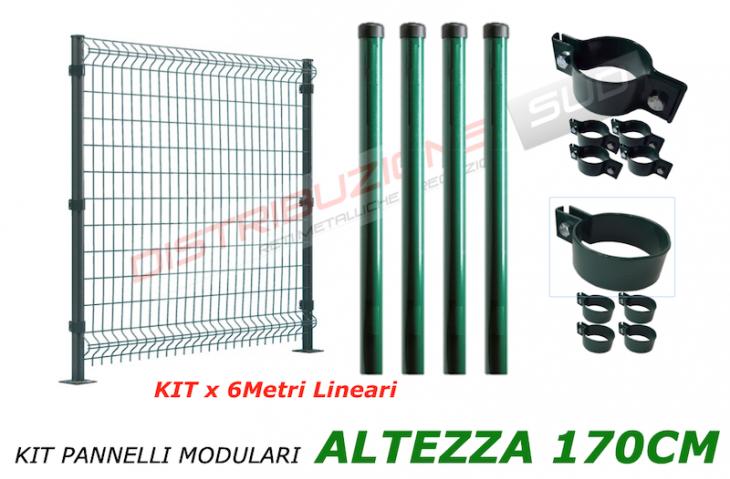 kit  6 metri lineari con pali tubolari e collari singoli e doppi