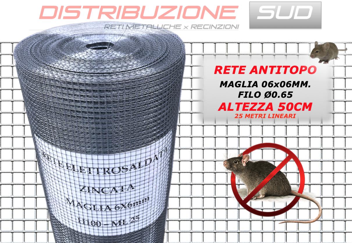 Rete Antitopo Maglia 6x6 filo 0.66