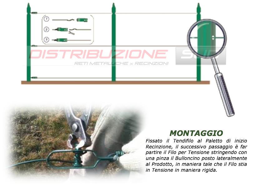 montaggio filo da tensione per recinzione con tendifilo