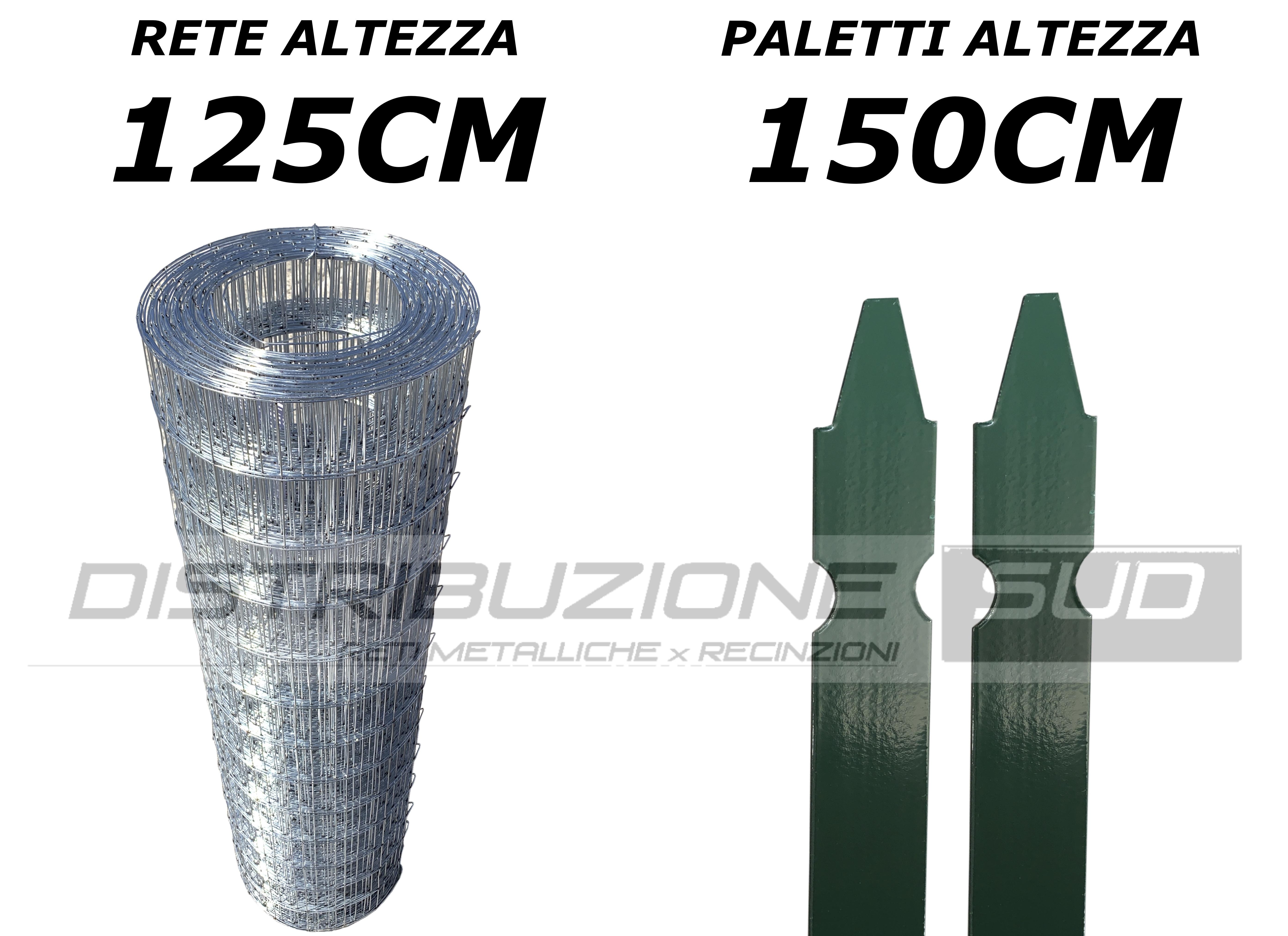 kit rete 5x7 zincata con pali plastificati
